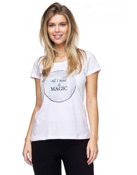 """MD1514-Schickes Decay T-Shirt mit """"Magic""""- Aufdruck-Weiss-Blau"""