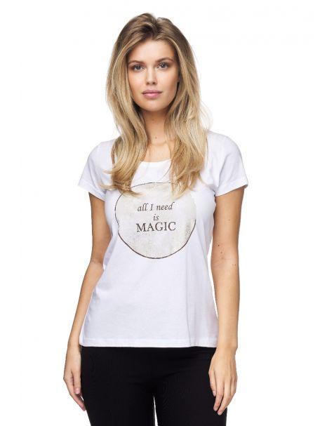 """MD1514-Schickes Decay T-Shirt mit """"Magic""""- Aufdruck-Weiß"""