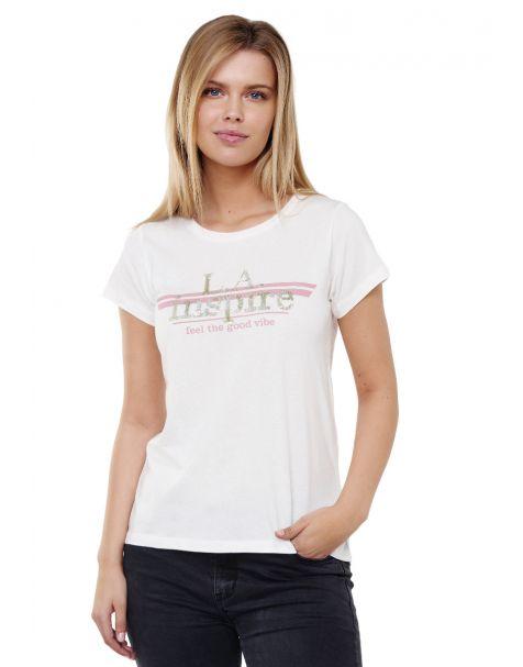 Decay T-shirt LA inspire- Aufdruck mit Pailletten-Beige