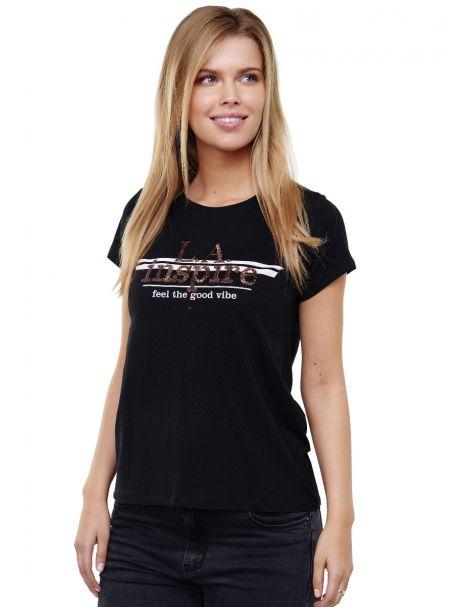 Decay T-shirt LA inspire- Aufdruck mit Pailletten-Schwarz