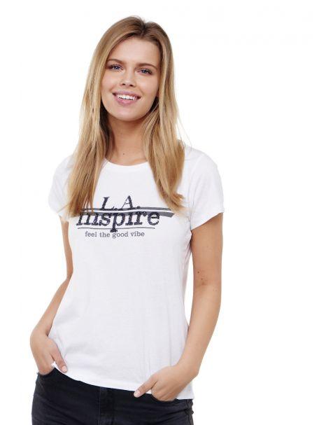 Decay T-shirt LA inspire- Aufdruck mit Pailletten-Weiß