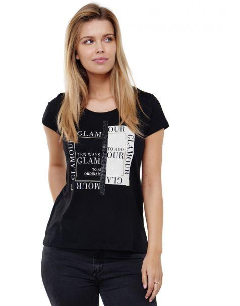 Decay T-shirt mit GLAMOUR- Aufdruck, Strasssteinen und goldfarbenen Glitzerdruck