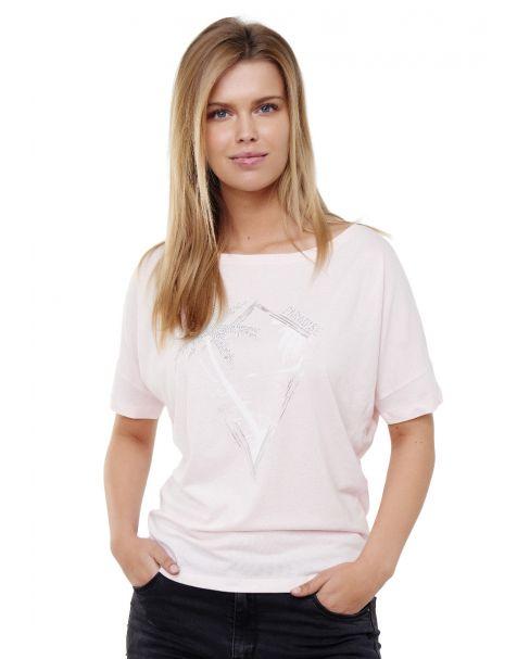 Decay T-shirt mit Palmen und Folien Logo Grafik Druck vorne und perlen-Rosa