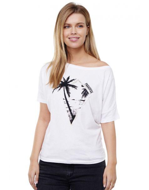 Decay T-shirt mit Palmen und Folien Logo Grafik Druck vorne und perlen-Weiß