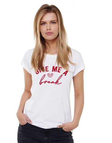 Decay T-shirt mit Schriftzug und Strasssteinen-Weiß/Rot