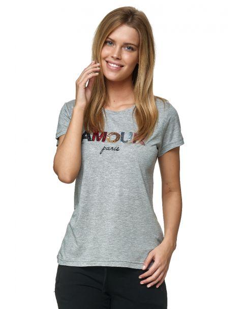 """Decay T-Shirt mit Pailletten-""""AMOUR"""" Schriftzug-Grau"""
