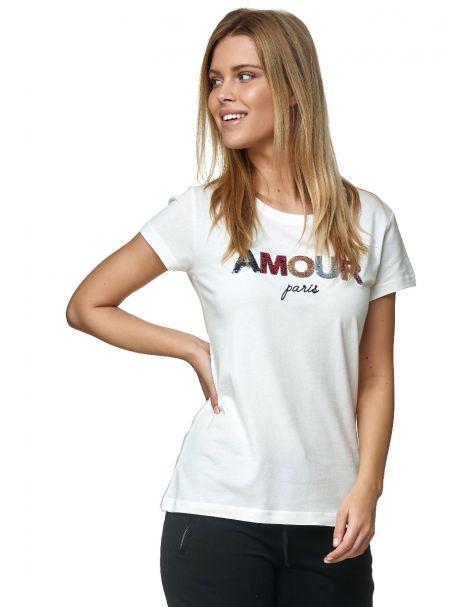 "Decay T-Shirt mit Pailletten-""AMOUR"" Schriftzug-Creme"