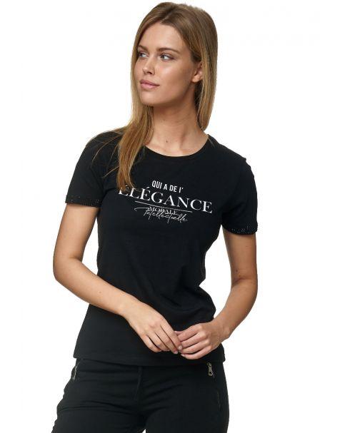 """Decay CASUAL T-Shirt mit Statement Schriftzug """"ELEGANCE"""" und Strasssteinen am Arm-Schwarz"""
