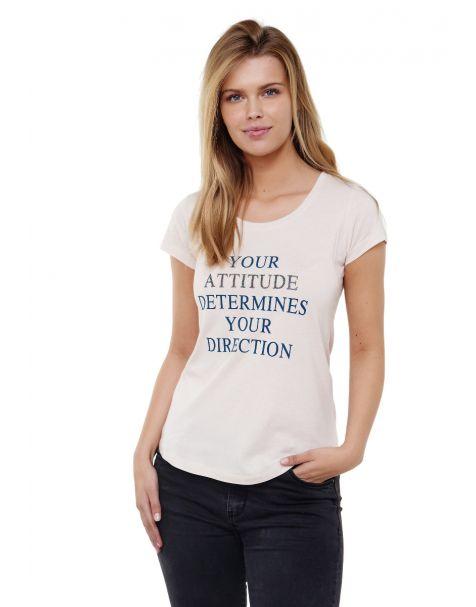 Decay T-shirt mit Statement Schriftzug und Perlen-Beige