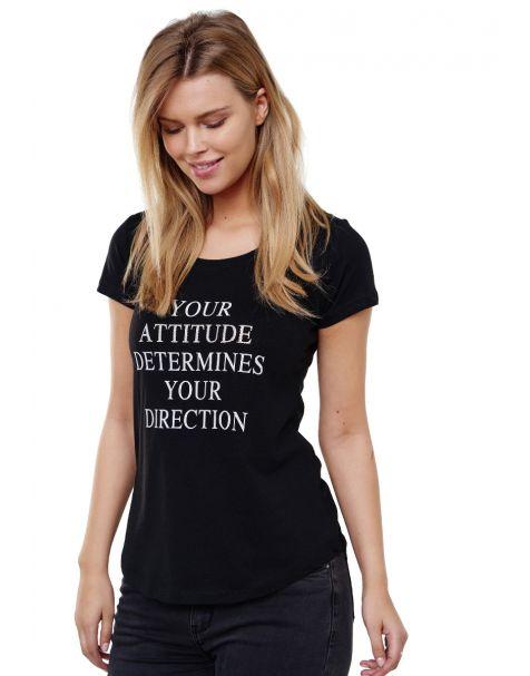 Decay T-shirt mit Statement Schriftzug und Perlen-Schwarz
