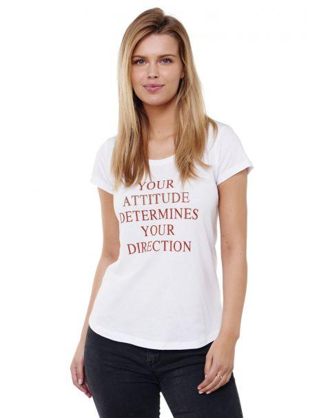 Decay T-shirt mit Statement Schriftzug und Perlen-Weiß