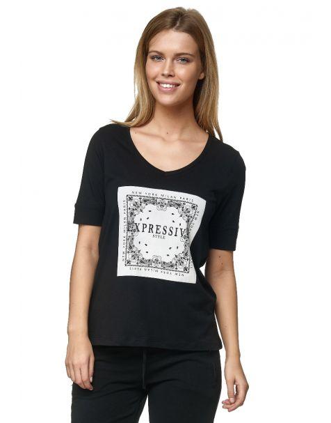 Decay T-Shirt mit Grafischer Print auf der Front und Strassstein-Schwarz