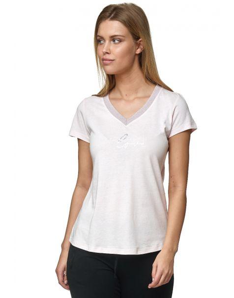 Decay T-Shirt mit Goldene v-ausschnitt und Schriftzug-Rosa