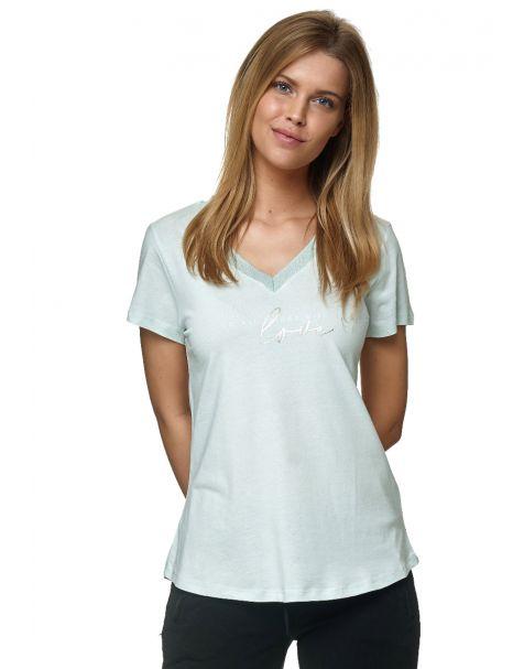 Decay T-Shirt mit Goldene v-ausschnitt und Schriftzug-Mint