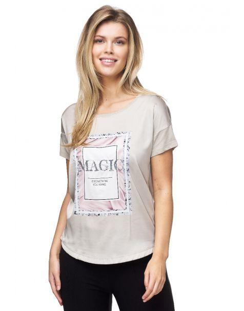 MD1537 Edles Decay T-Shirt mit Pailletten-Schriftzug.