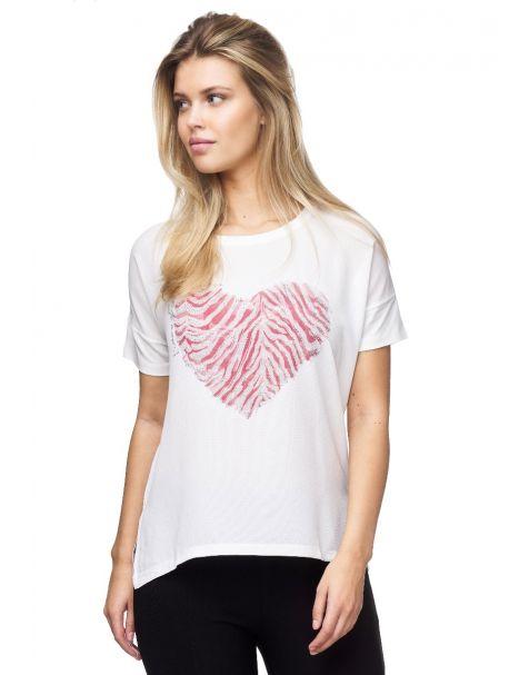 MD1540 Stylisches T-Shirt von Decay mit farbigem Herzaufdruck.