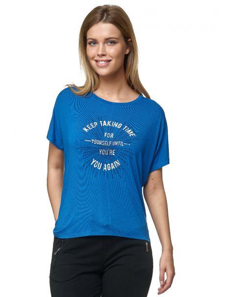 Decay T-Shirt mit Schriftzug und Strassstein-Blau