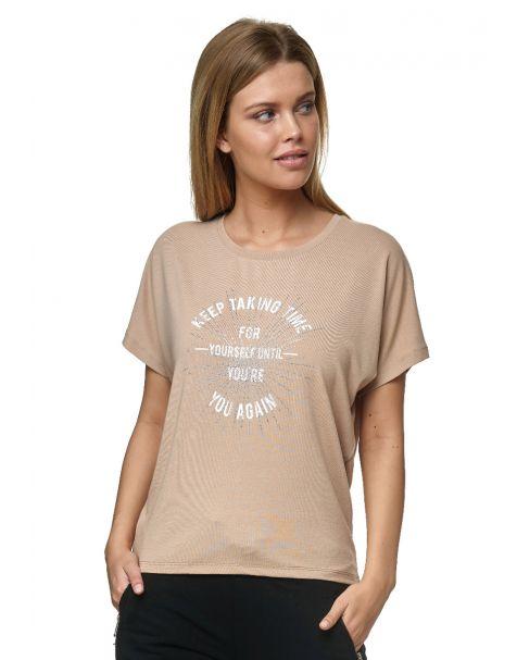 Decay T-Shirt mit Schriftzug und Strassstein-Braun