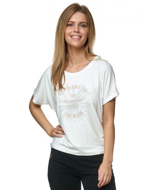 Decay T-Shirt mit Schriftzug und Strassstein-Creme