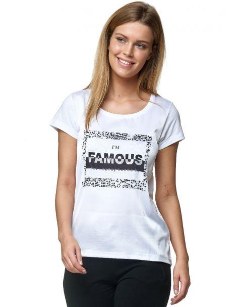 Decay T-Shirt mit Schriftzug, Leo Flecken und Perlen-Weiß