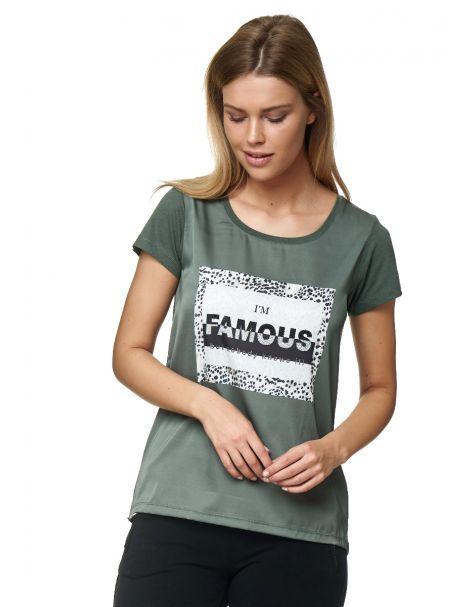 Decay T-Shirt mit Schriftzug, Leo Flecken und Perlen-Khaki