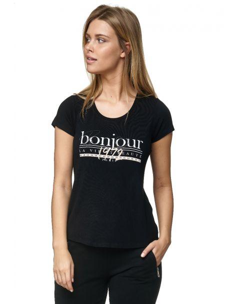 Decay T-Shirt mit BONJOUR-Aufdruck-Schwarz