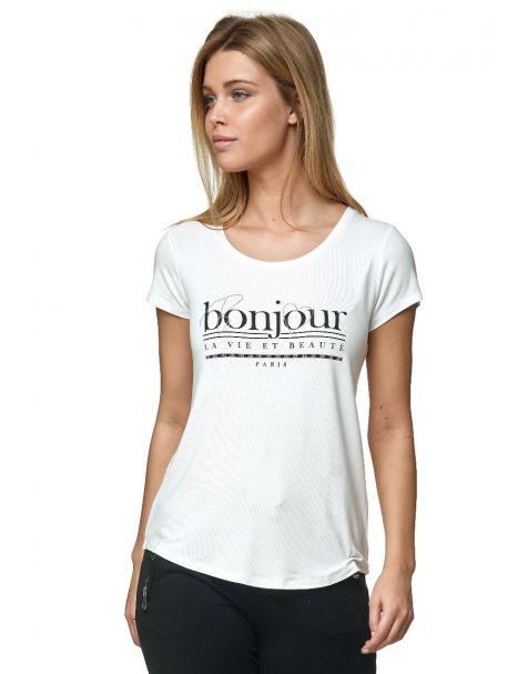 Decay T-Shirt mit BONJOUR-Aufdruck-Weiß