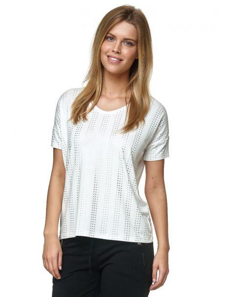 Decay T-Shirt mit V-Ausschnit und silberne Metallic-Punkte-Weiß